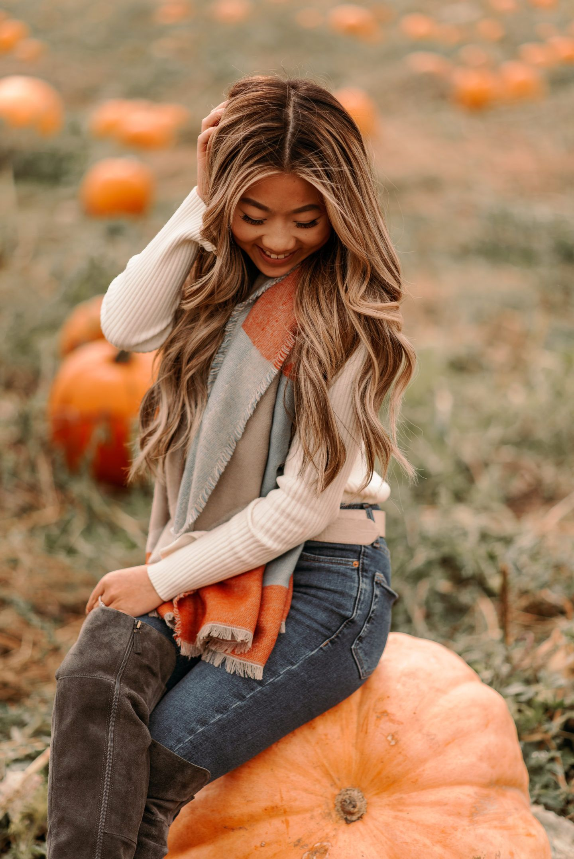 Pumpkin Patch Photoshoot  pumpkin patch photoshoot fall fashion fall outfit pumpkin patch photos fall scarves marisa kay fall aesthetic fall photoshoot #pumpkinpatchoutfit