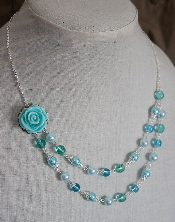 Handmade Aqua Rose Necklace Aqua Pearl Necklace Pearl Flower Necklace Aqua Wedding Aqua Bridesmaid Necklace Aqua Statement Necklace