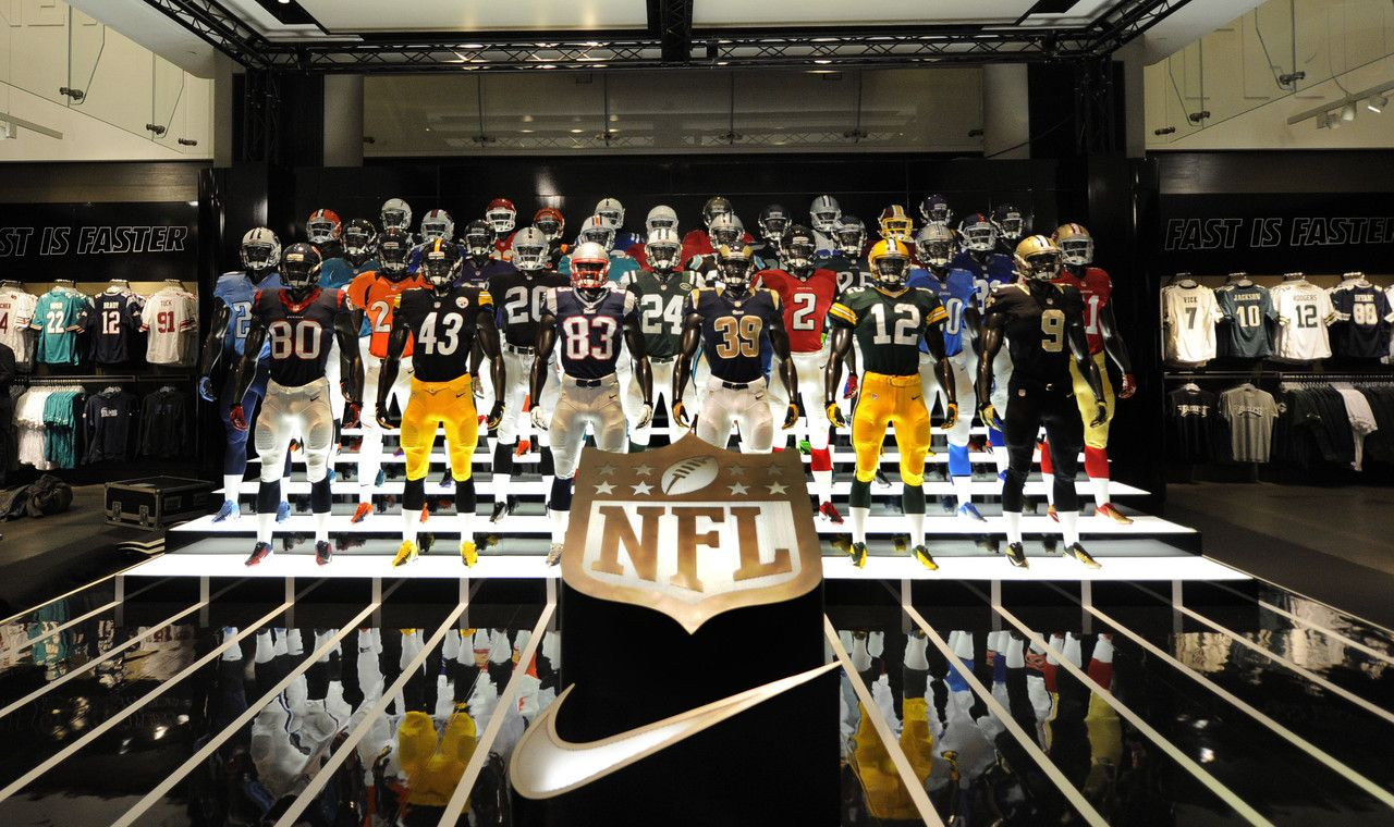 Jerseys from all 32 NFL teams on display at Niketown