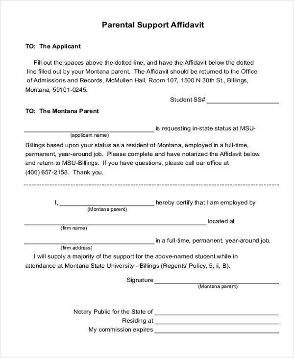 Affidavit Letter Of Support Example New Sample Affidavit