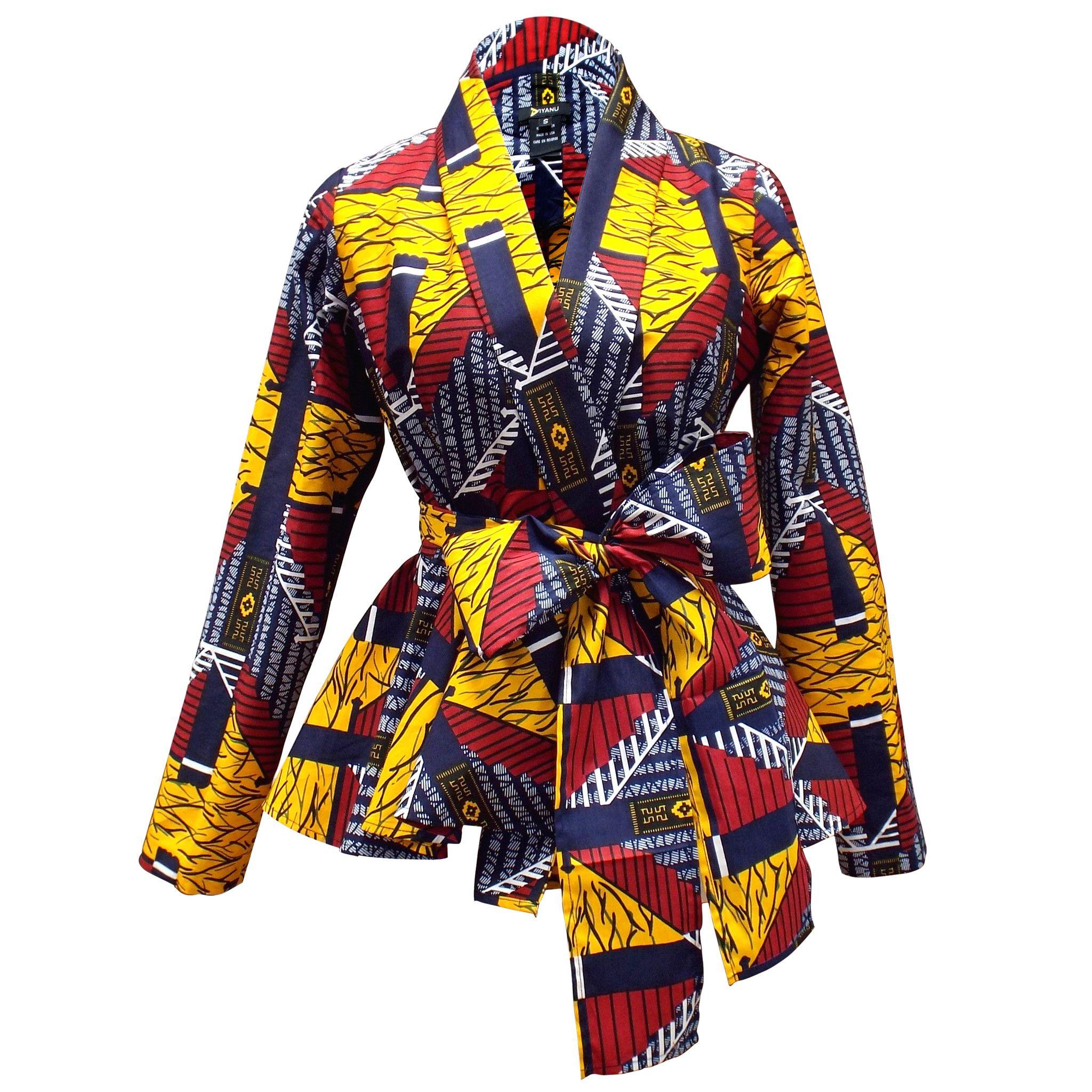 Diola African Print Peplum Blazer (Navy/Red/Yellow)