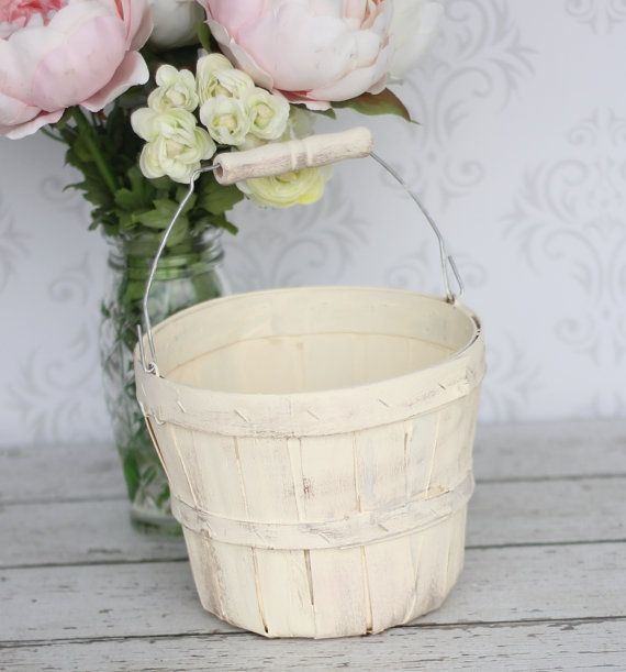 Rustic Chic Flower Girl Basket Custom Shabby Chic Wedding Decor