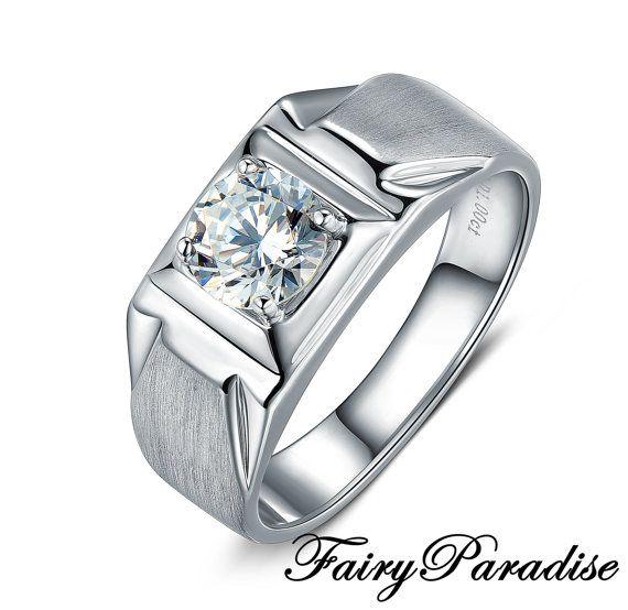 1 Carat Round Cut Engagement Ring Round Cut Man Made Lab Created Diamond Simulant Bridal Ring Anniversary Ring Wedding Ring Sterling Silver