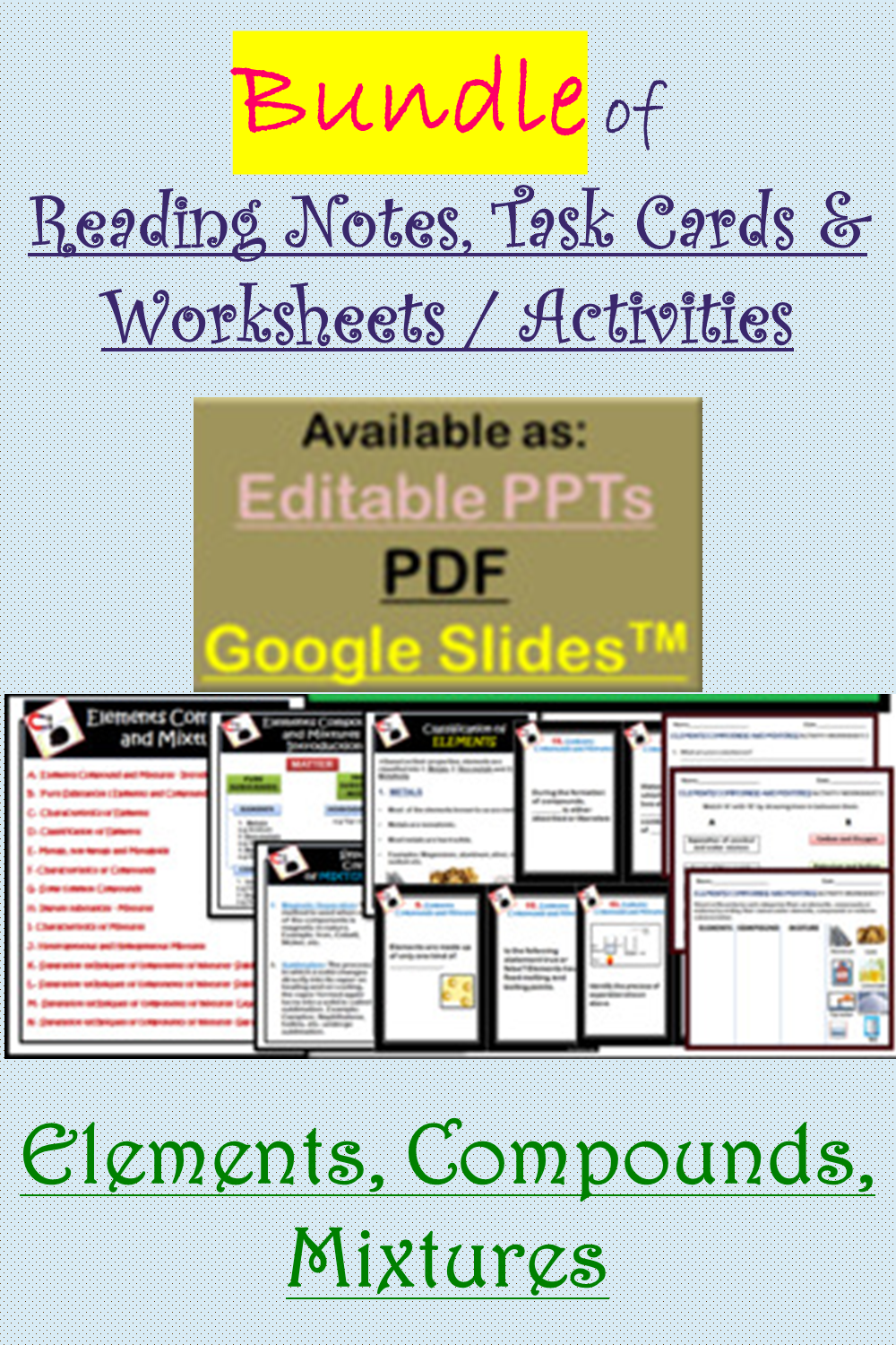 Editable Bundle Of Elements Compounds Mixtures Reading Notes Task Cards Worksheets Activities In 2021 Teaching Process Teaching Resources Teacher Resources [ 1500 x 1000 Pixel ]