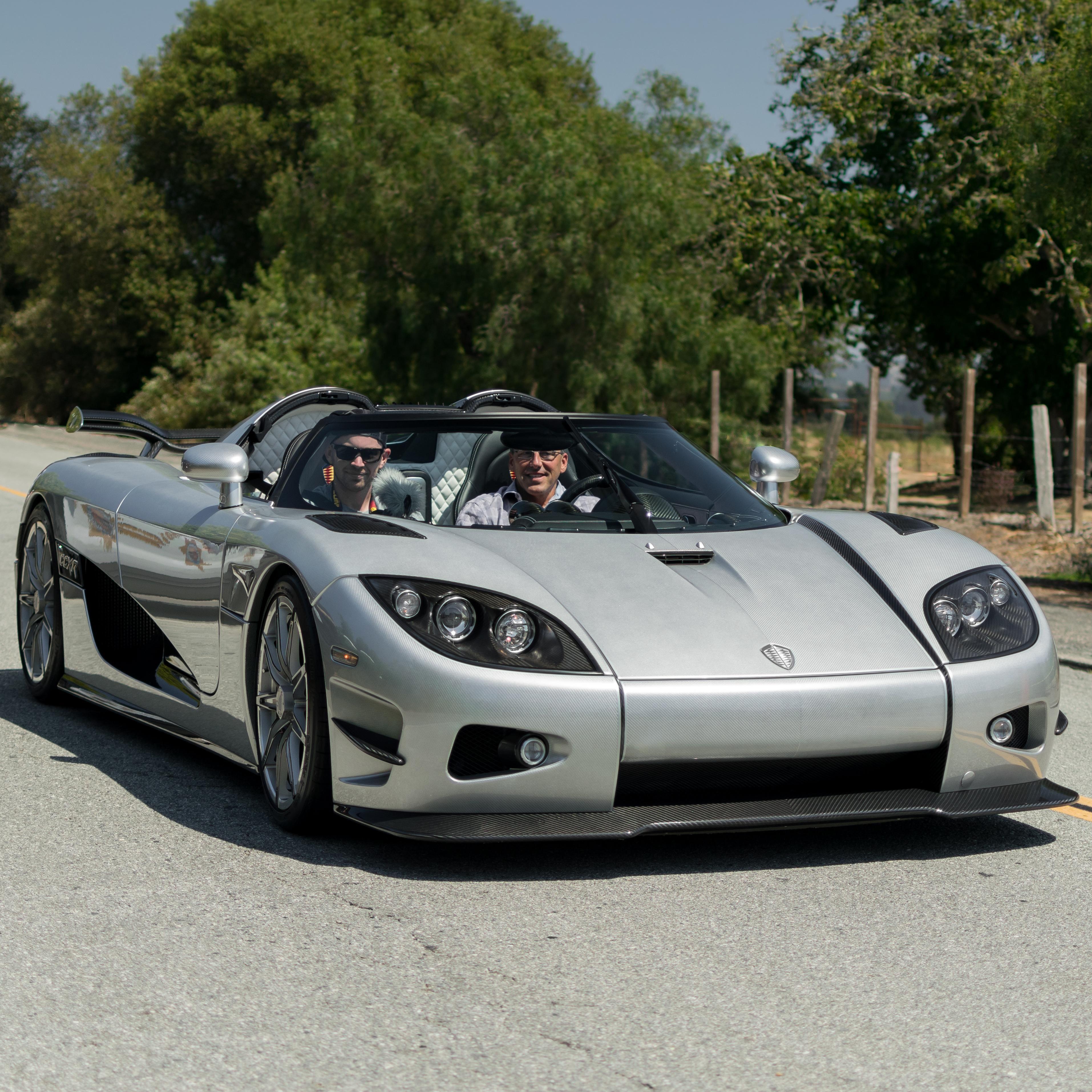 Koenigsegg ccxr trevita being driven at monterey car week