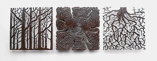 Roots N Shoots Triptych, Bronze Finish: Bernard Collin: Metal Wall Art    Artful Home