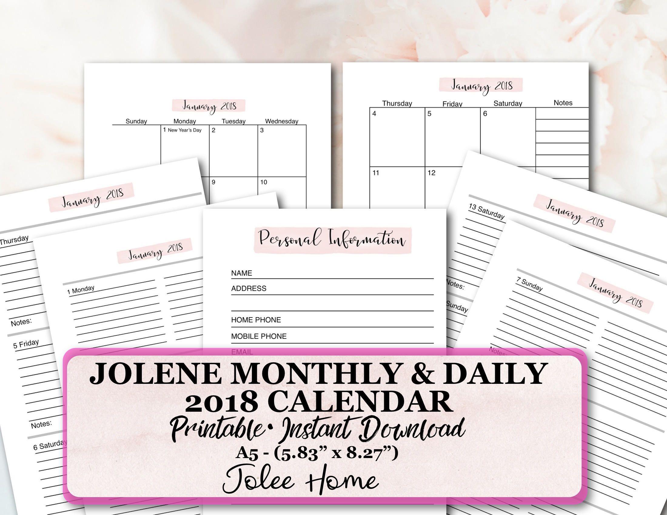 A Calendar Insert A Printable Calendar Insert Daily Calendar