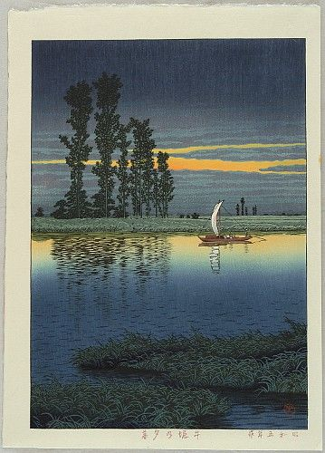 Hasui Kawase 1883-1957 - Dusk at Ushibori - artelino Art Auctions.