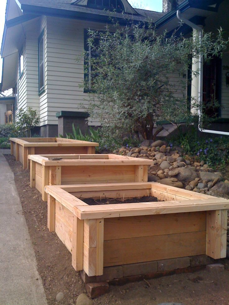 planter boxes on a graduated slope