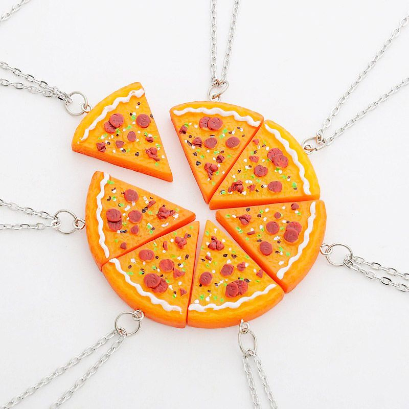 7 Piece Bff Friendship Pizza Necklaces Retailite Friend Necklaces Bff Jewelry Friendship Jewelry