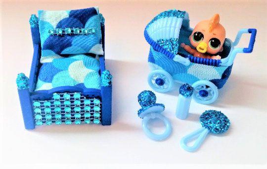 Dollhouse Furniture Set with Stroller Kids Dollhouse Furniture Boys Bedroom Set Birthday Gift #dollhousefurniture