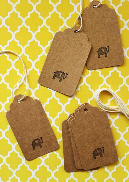 10 Stk. Anhänger / Label Vintage Pack «Elefant»