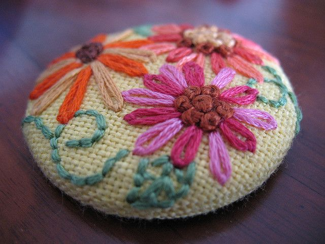 Embroidered button, flower covered button