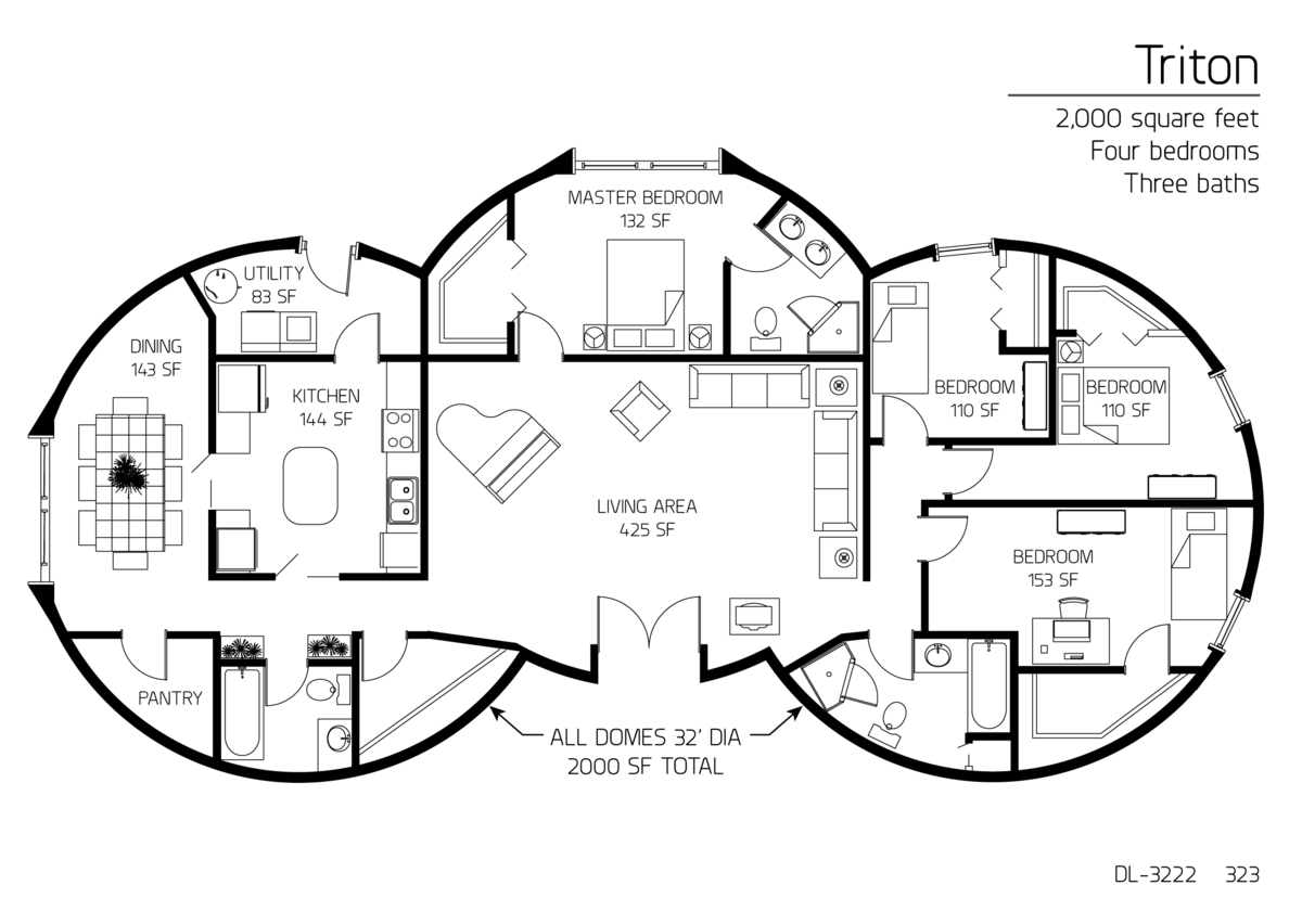 2,000 square feet Four bedrooms Three baths Floor Plan: DL ...