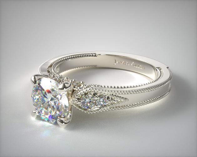 14k White Gold Paisley Surprise Engagement Ring