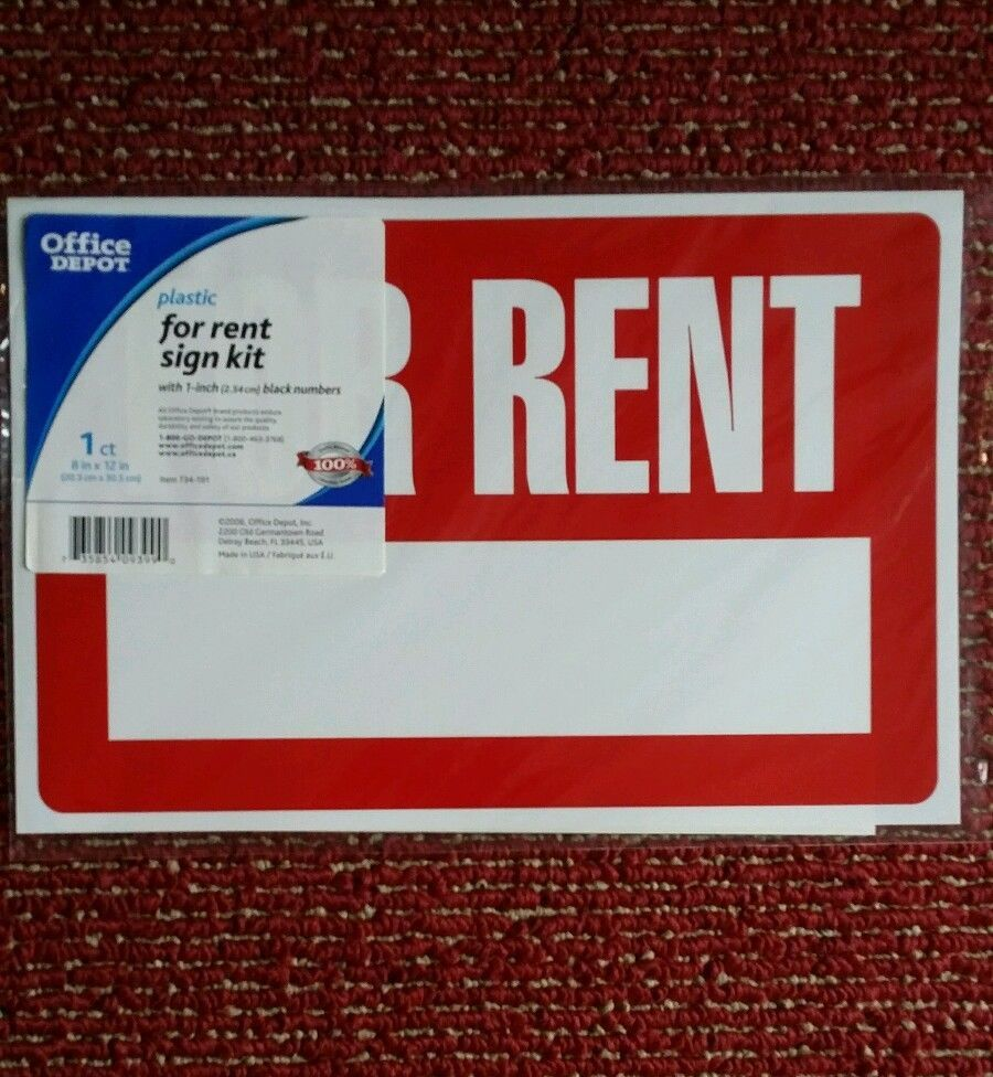For Rent Sign Kit Plastic 1 Inch Black Numbers 8 X 12 1 Kit Officedepot With Images Black Numbers Rent Signs