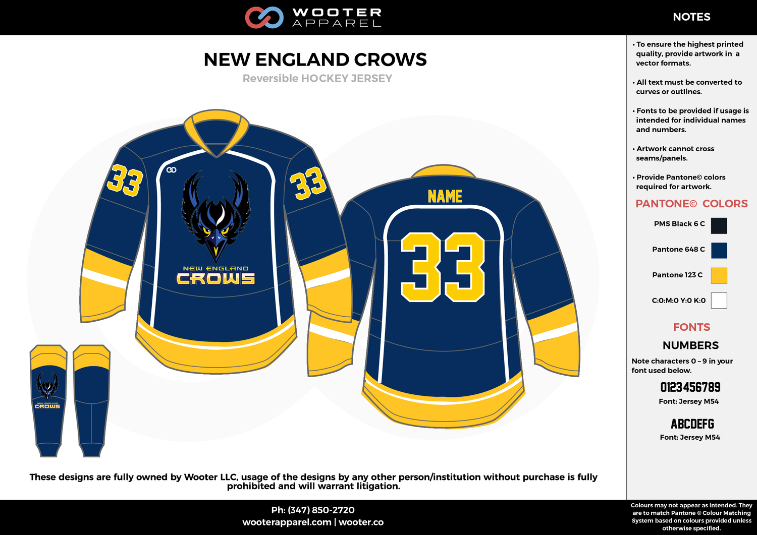 New England Crows Black Blue Yellow White Hockey Uniforms Jerseys Hockey Jersey Hockey Uniforms