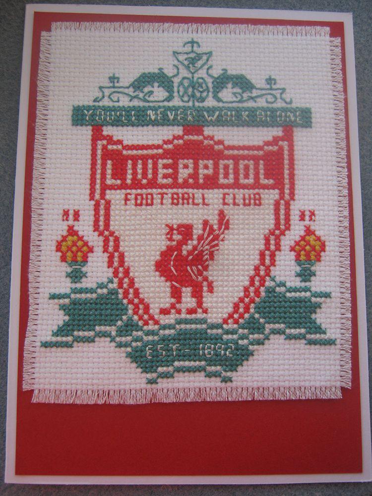 Cross Stitch Liverpool Badge Card | times | Pinterest | Punto de ...