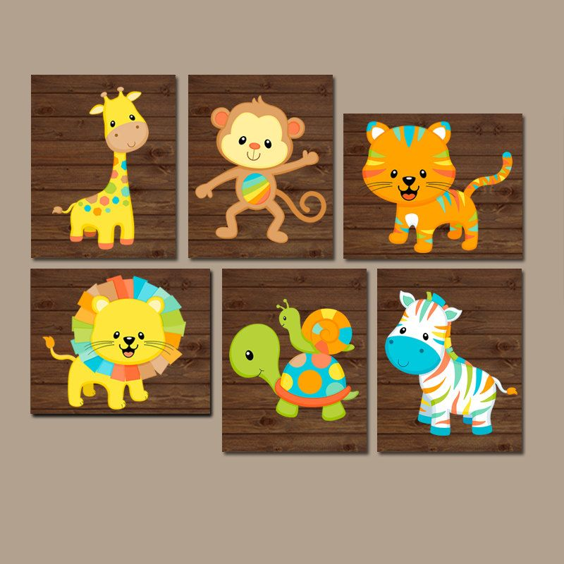 Safari Animals Nursery Wall Art Jungle Baby Boy