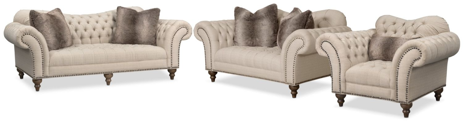 Best Brittney Sofa Loveseat And Chair Set Linen Sofa And 400 x 300