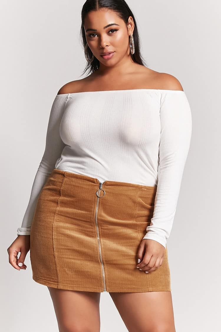 947c1b59b171e Product Name Plus Size Corduroy Mini Skirt