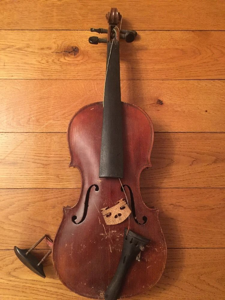 Old Antique Vintage Violin Parts Or Restoration Found In