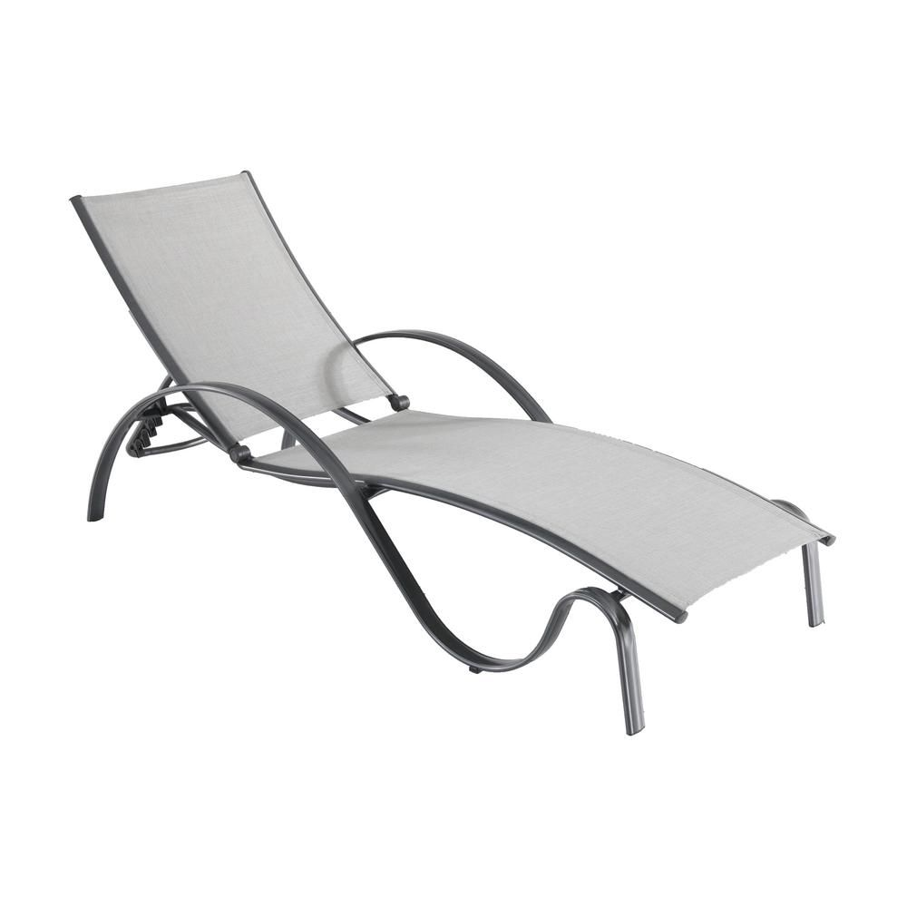 Hampton Bay Commercial Grade Aluminum Light Gray Outdoor Chaise Lounge With Sunbrella Augustine Alloy Sling 2 Pack Fla67013bg 2pk The Home Depot Lounge Chair Outdoor Outdoor Chaise Lounge Outdoor Chaise
