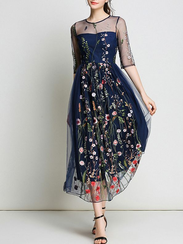 5a3ddc2a70 Shop Sheer Gauze Flowers Embroidered Dress online. SheIn offers Sheer Gauze  Flowers Embroidered Dress & more to fit your fashionable needs.