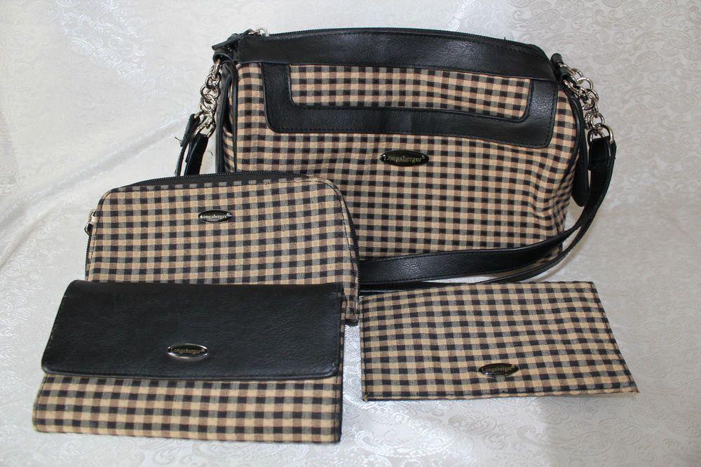 Longaberger Homestead plaid purse & matching wallet