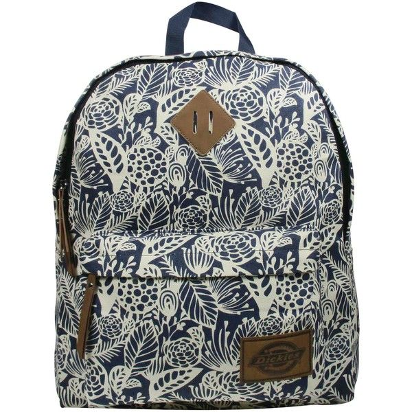 Dickies Printed Classic Canvas Backpack with Front Zip Pocket - Navy...  ( 25) ❤ liked on Polyvore featuring bags e0ce461428e54