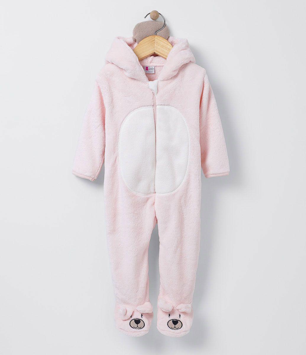 Macacão infantil Com capuz e pezinhos de ursinho Marca  Teddy Boom Tecido   Fleece Sem ffc91d270e6