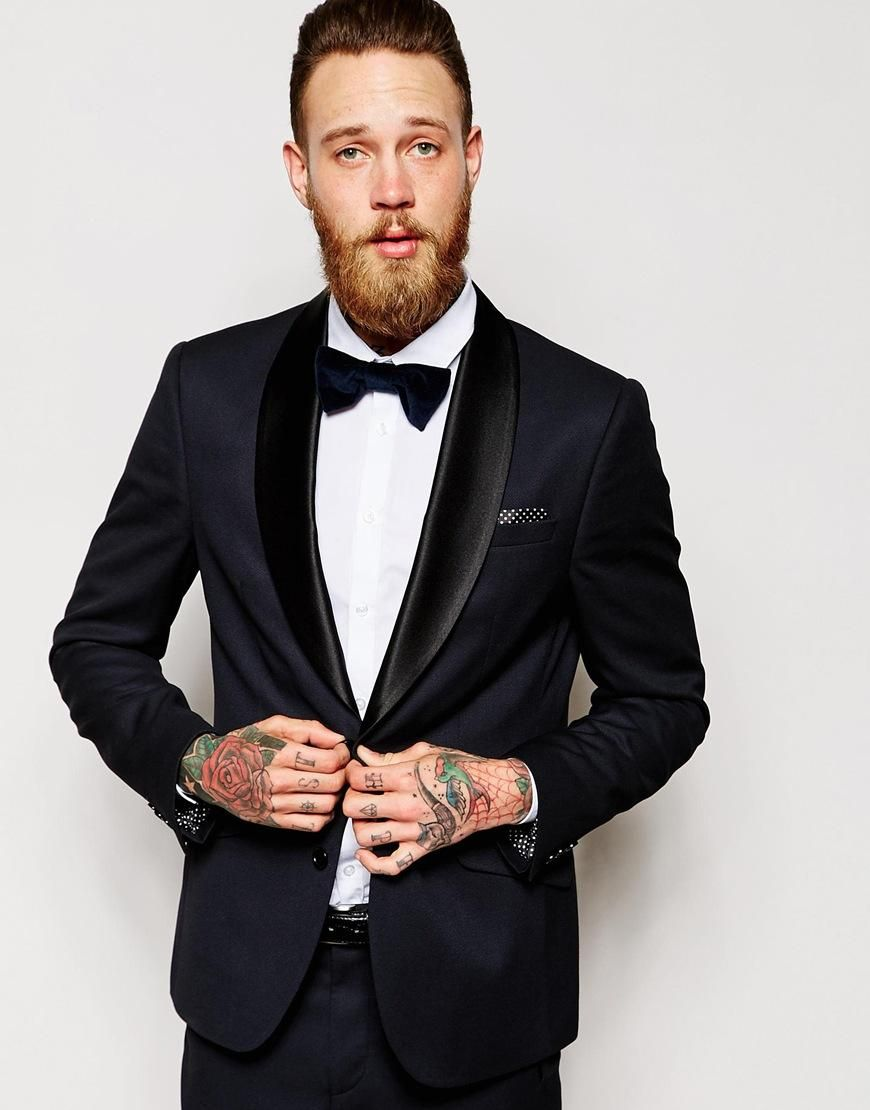 Classic Style Two Button Navy Blue Groom Tuxedos Groomsmen Men\'s ...