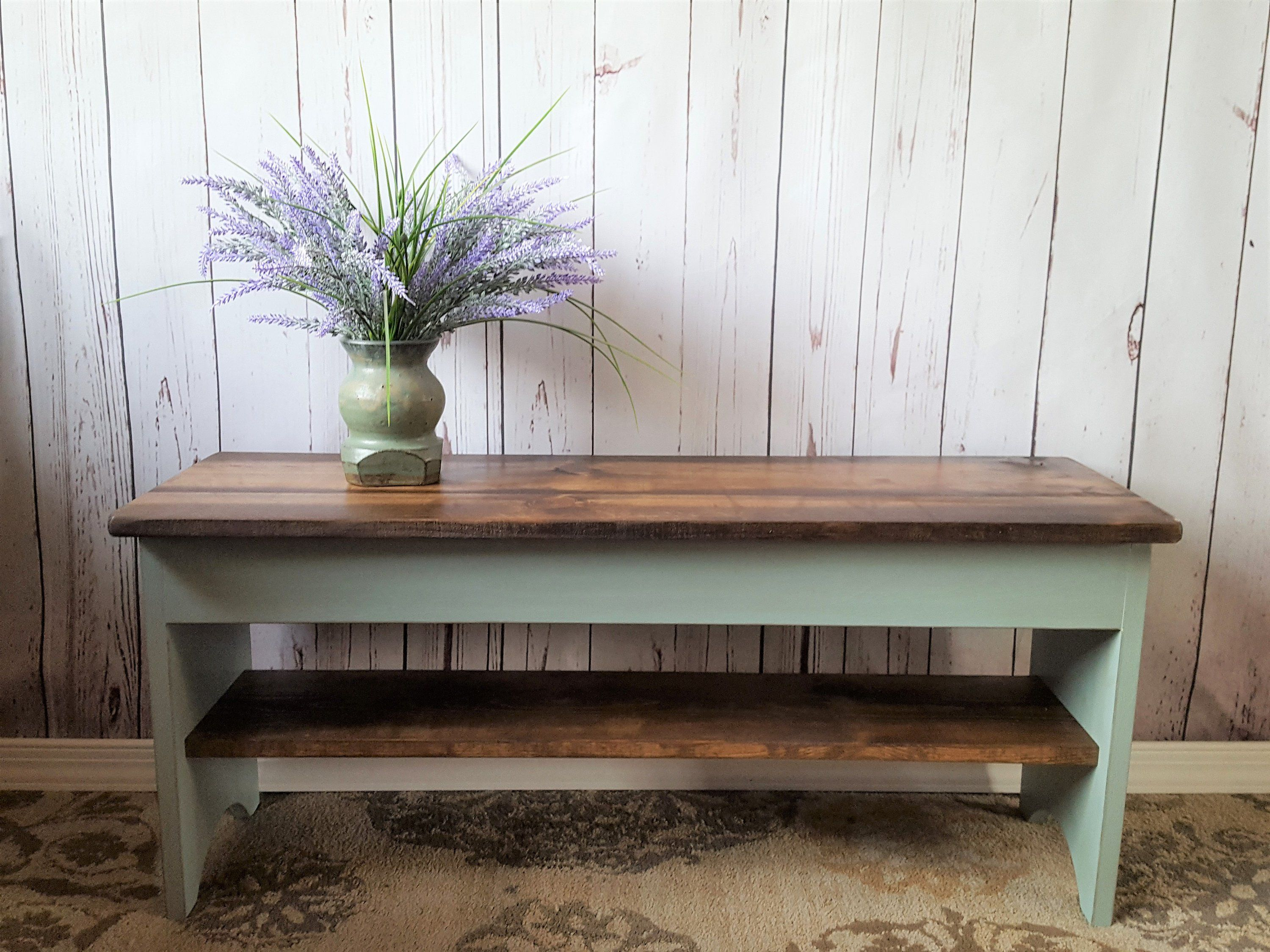 "42"" Farmhouse Bench Storage, Shoe Shelf, Rustic"