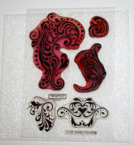 Acrylic Stamp set CTMH C1307 Western Flourishes Retired
