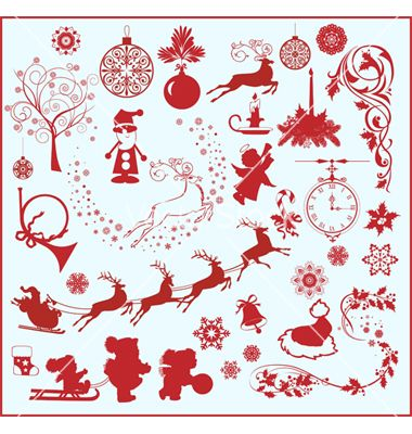 christmas design elements vector | christmas vectors | pinterest