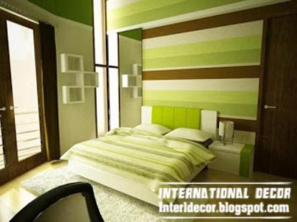 striped green bedroom paint ideas, latest bedroom color schemes ...