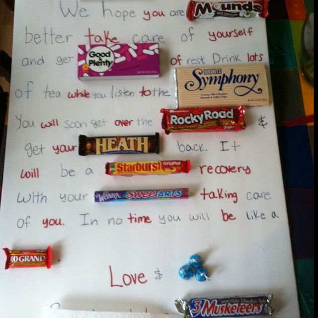 Get well soon candy note too cute creativity for Unusual get well gifts