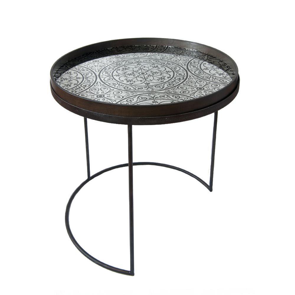 Notre Monde Tabletttisch Rund Marokko Metall Glas 2er Set Tabletttisch Orientalischer Tisch Tisch