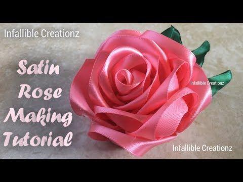 Satin Ribbon Rose | How to make satin ribbon rose | Satin Ribbon Flower - YouTube #ribbonflower