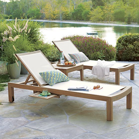 Regatta Natural Mesh Chaise Lounge   Crate and Barrel