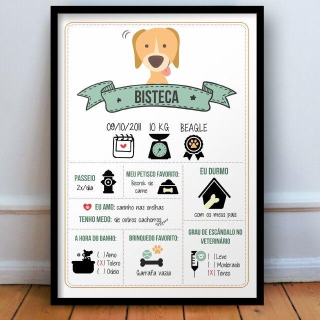 Quadro personalizado cão R$ 40 na wwwstamptagbr #amor #pets - pet poster