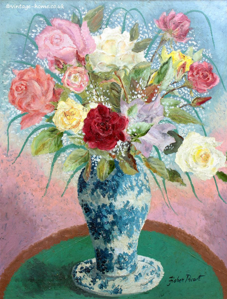 Vintage home shop roses in blue and white vase oil painting by 20th century textiles period homewares and decorative antiques mightylinksfo