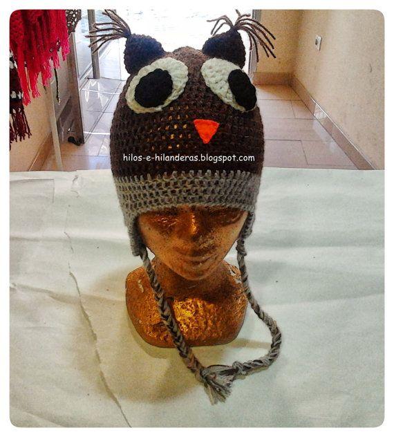 Gorro de animales con orejeras owl por hilosehilanderas en Etsy, €15.00