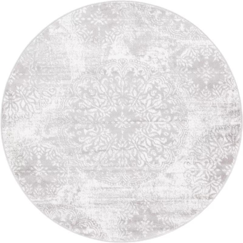 Brandt Floral Light Gray Area Rug In 2021 Grey Circle Rug Grey Round Rug Grey Area Rug