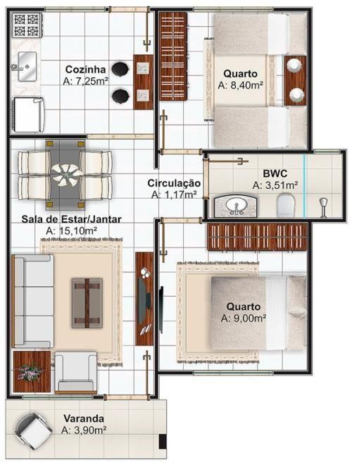 Plano casa peque a de dos dormitorios planos pinterest for Viviendas pequenas planos