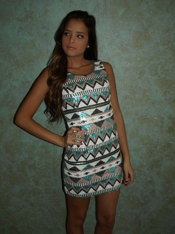 Aztec Print Sequin Dress