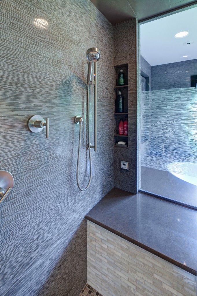 Spacious Master Bathroom with Step Up Tub and Glass Shower ...