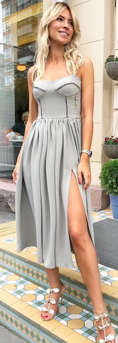 dd02b44ac198 10+ Fabulous Summer Outfits You Should Try Right Now  gray spaghetti strap  dress. Visit. January 2019