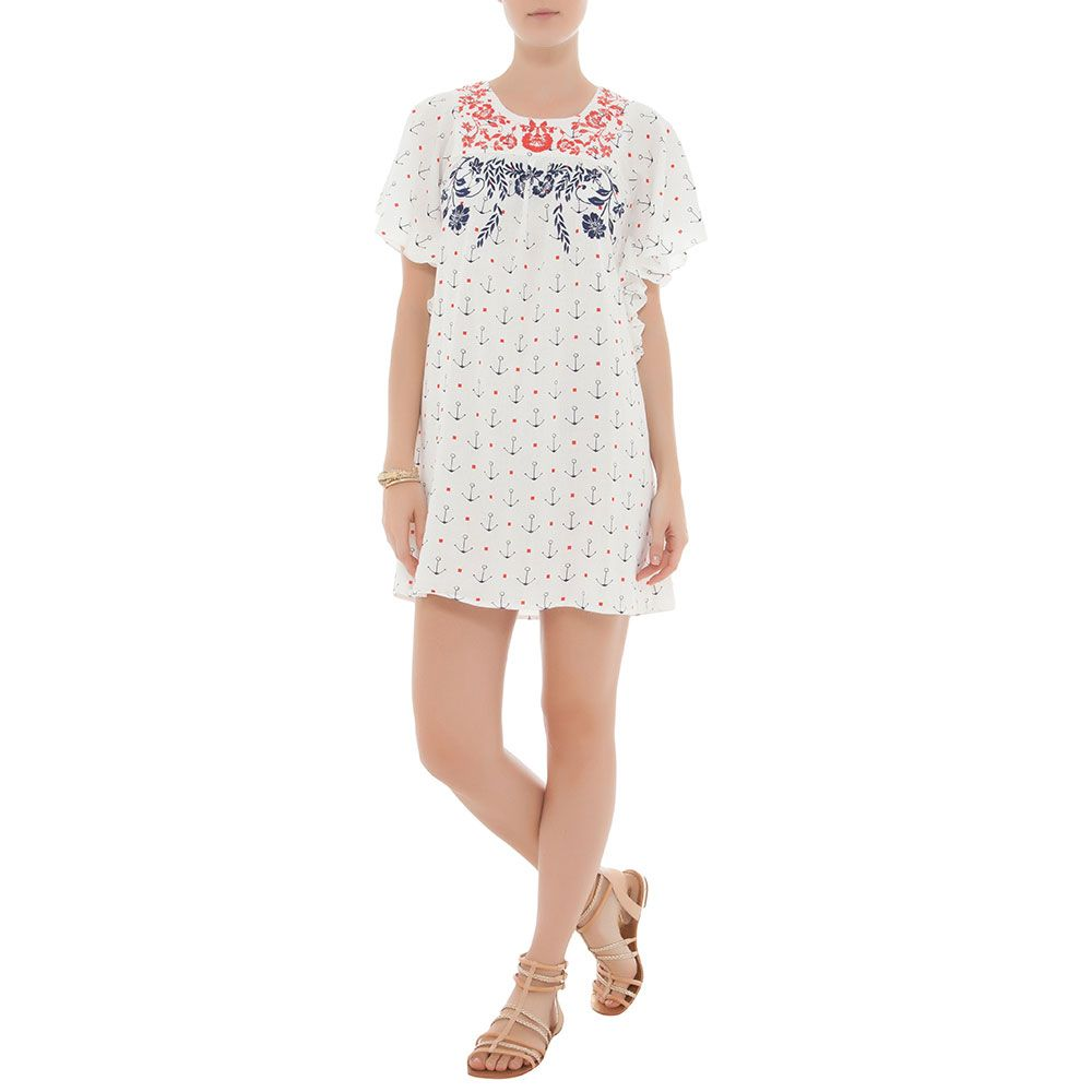 FARM Vestido ancorado mexicano off white