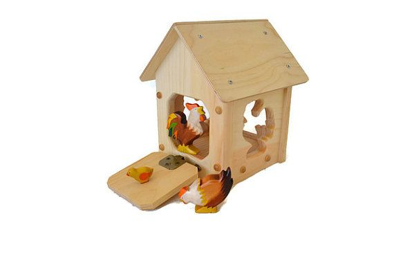 Natural Wooden Toy Chicken Coop-Wooden-Hen House-toy stable-Toy…